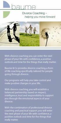 DL flyer for Baume Divorce Coach